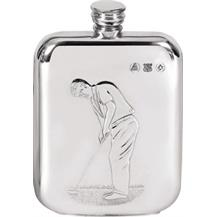 Pewter 6oz Hip Flask - Golf 'Putting'