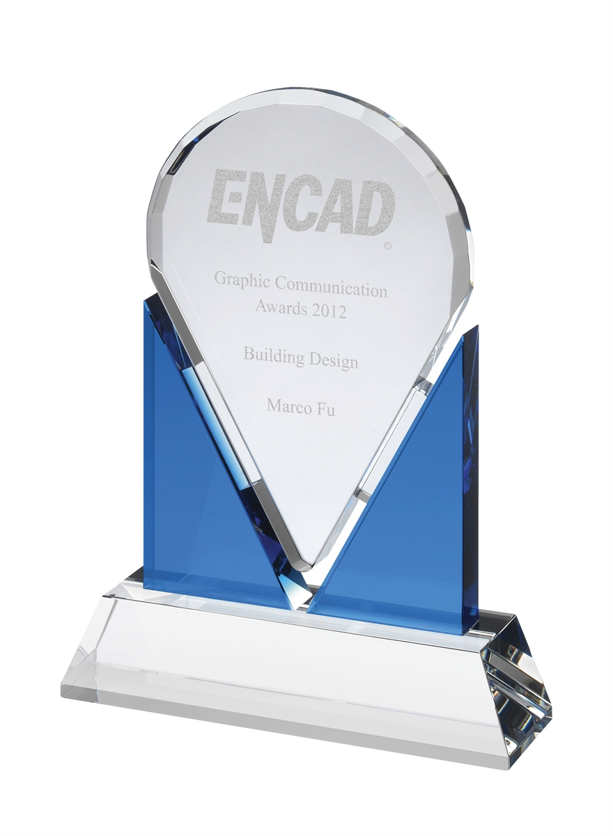 AC136 Engraved Blue and Clear Optical Crystal Award