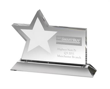 AC127 Engraved Optical Crystal Star Award