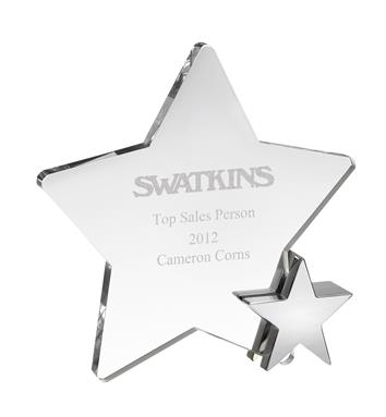 AC113 Engraved Optical Crystal Star Award with Metal Star