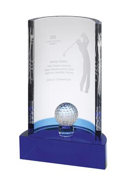AC166 Blue and Clear Optical Crystal Golf Award