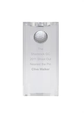 AC163 Engraved Optical Crystal Golf Award