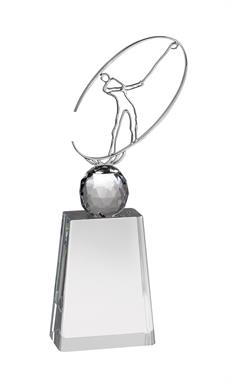 AC169 Crystal Golf Award With Metal Figure