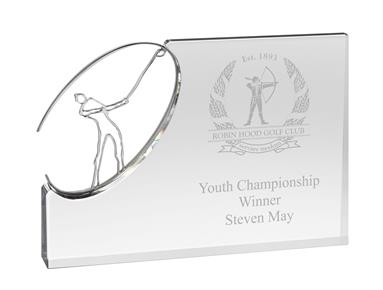 AC171 Engraved Optical Crystal Golf Award