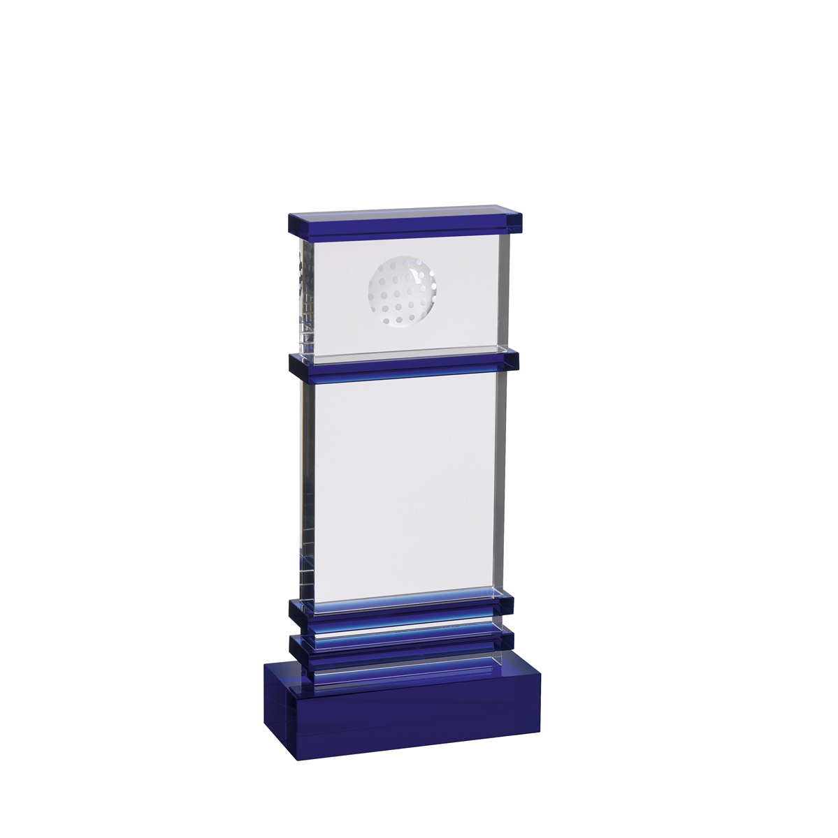 AC164 Blue and Clear Optical Crystal Golf Award