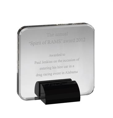 AC143 Engraved Black & Clear Optical Crystal