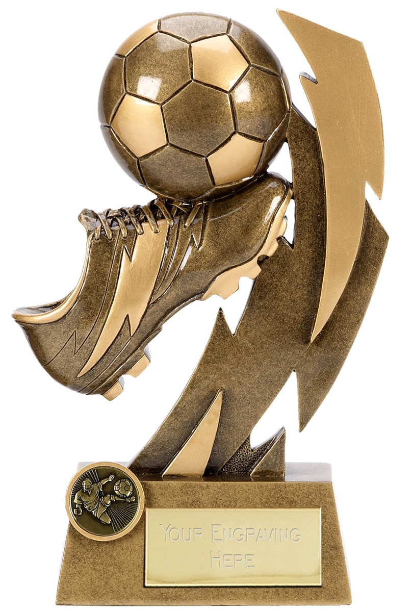 A1366A Gold Flash Ball & Boot Football Trophy