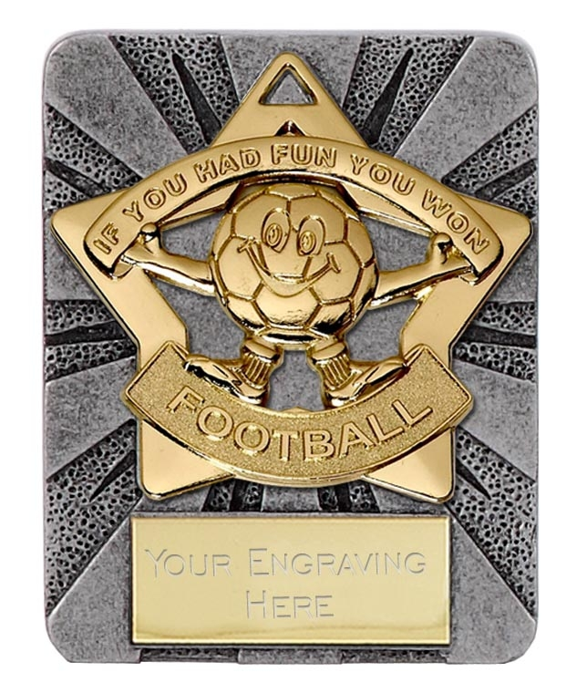 A1389-AM732G Football Word & Ball Medal