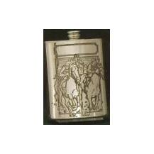 Finely Designed Pewter Drinking Flask - Horse Racing