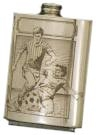 Finely Designed Pewter Drinking Flask - Football