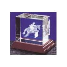 Optical Crystal 3D Laser Block - Showjumper
