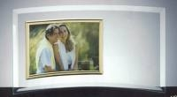 Curved Horizontal Jade Glass Photo Frame