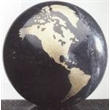 Marble Black World Globe with Flat Bottom