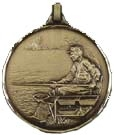 Finely Detailed Faceted Medal - Scenic Fishing