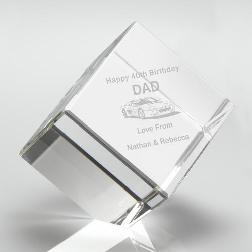 CUBE100 Clear Glass Cube Paperweight in Box