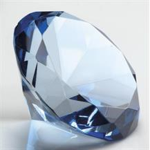 DIA80-BL Blue Glass Diamond Shaped Paperweight in Box