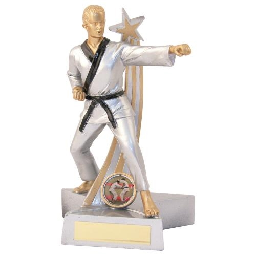 JR11-RF892 Silver/Gold/Black Resin Male M.Arts 'Star Action' Figure Trophy