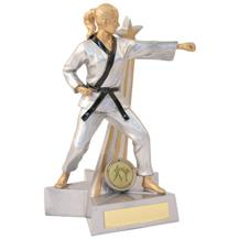 JR11-RF893 Silver/Gold/Black Resin Female M.Arts 'Star Action' Figure Trophy