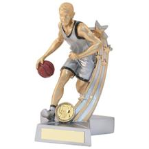 JR15-RF878 Silver/Gold/Black Resin Male Basketball 'Star Action' Figure Trophy