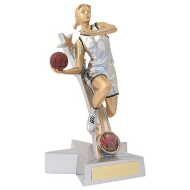 JR15-RF879 Silver/Gold/Black Resin Female Basketball 'Star Action' Figure Trophy