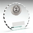 JR17-TY102B Jade Glass Patterned Round With Silver Trim Trophy