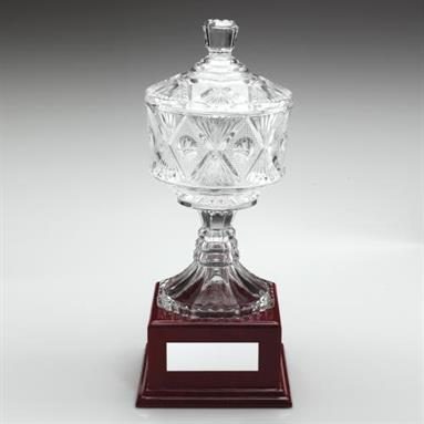 JR17-WGC1 Clear Glass Cup On Wood Base Trophy