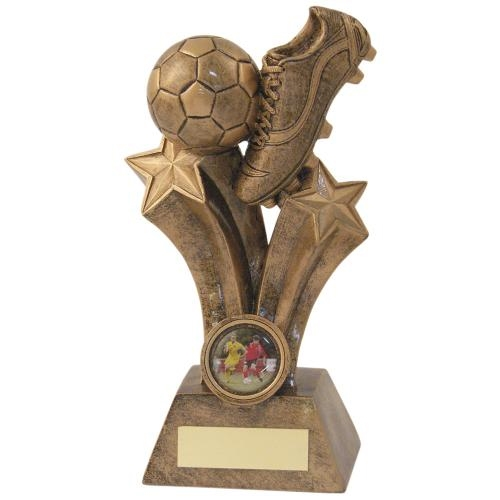JR1-RF121 Bronze/Gold Resin Football Boot Trophy