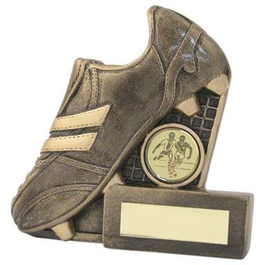 JR1-RF133 Bronze/Gold Resin Football Boot+Net Flatback Trophy