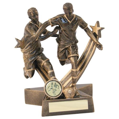 JR1-RF195 Bronze/Gold Resin Male Football 'Star Action' Double Figure Trophy