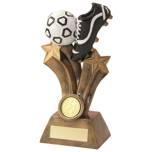 JR1-RF521 Bronze/Gold/Black/White Resin Football Boot Trophy