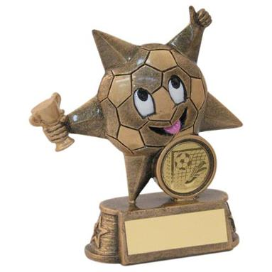 JR1-RF601 Bronze/Gold Resin Football 'Comic Star' Figure Trophy