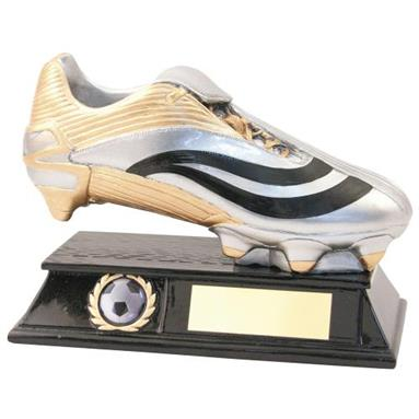 JR1-RF838 Silver/Gold/Black  Resin Football Boot Trophy