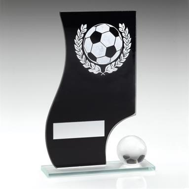 JR1-TD411 Black/Silver Glass Football Plaque+Ball Trophy