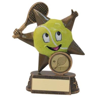 JR21-RF603 Bronze/Gold/Yellow Resin Tennis 'Comic Star' Figure Trophy