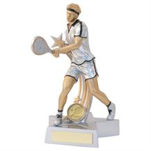 JR21-RF885 Silver/Gold/Black Resin Male Tennis 'Star Action' Figure Trophy
