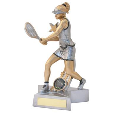 JR21-RF886 Silver/Gold/Black Resin Female Tennis 'Star Action' Figure Trophy