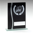 JR23-TD321 Black/Silver Glass Gaelic Football Plaque Trophy