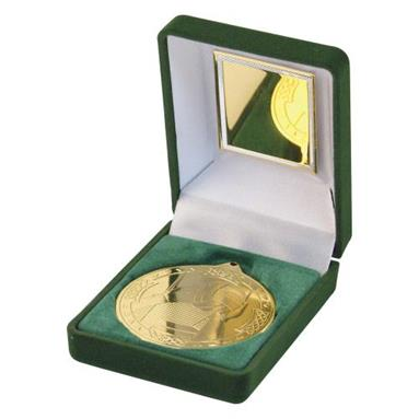 JR23-TY62 Green Velvet Box+Gold Gaelic Football Medal Trophy