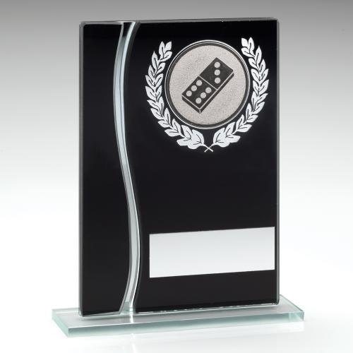 JR27-TD319L Black/Silver Glass Plaque With Silver Dominoes insert Trophy