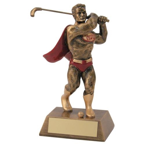 JR2-RF547 Bronze/Gold/Red Resin Golf 'Hero' Trophy