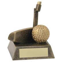 JR2-RF93 Bronze/Gold Resin Golf 'Putter' Trophy