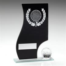 JR2-TD412 Black/Silver Glass Golf Plaque+Ball Trophy