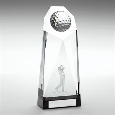 JR2-TD812 Clear/Black Glass Golf Heptagon Column Trophy