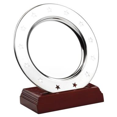 JR41-TY71 Stainless Steel 'Stars' Salver On Wooden Stand