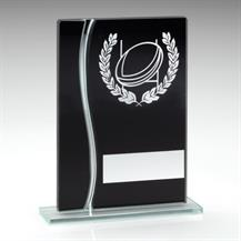 JR4-TD314 Black/Silver Glass Rugby Plaque Trophy