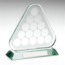 JR5-KG147 Jade Glass Pool/Snooker Balls in Triangle Trophy