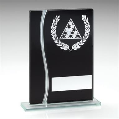 JR5-TD315 Black/Silver Glass Pool Plaque Trophy