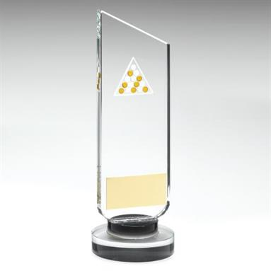JR5-TD515 Clear/Black Glass Plaque With Gold/White Pool Logo