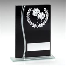 JR7-TD317 Black/Silver Glass Lawn Bowls Plaque Trophy