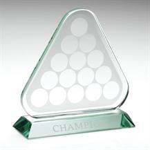 KG147 Jade Glass Triangle Plaque With Pool/Snooker Balls (10mm Thick)
